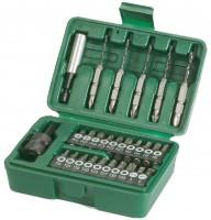 720000 ZESTAW BITÓW PH( 1 2 3) PZ( 1 2 3) INBUS(3 4 5 6) T(8 10 15 20 25 27 30 40) TX( 4 6) dwustronny z wiertłem: 2 x PH 1 - 2 mm,2 x PH 2 - 3 mm, 1 PH x 3 - 4 mm, UCHWYT MAGNETYCZNY, UCHWYT MAGNETYCZNY SZYBKOZMIENNY